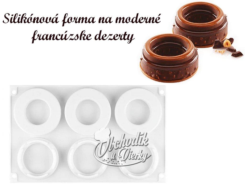 Poschodie z kruhov silikónová forma na moderné francúzske dezerty