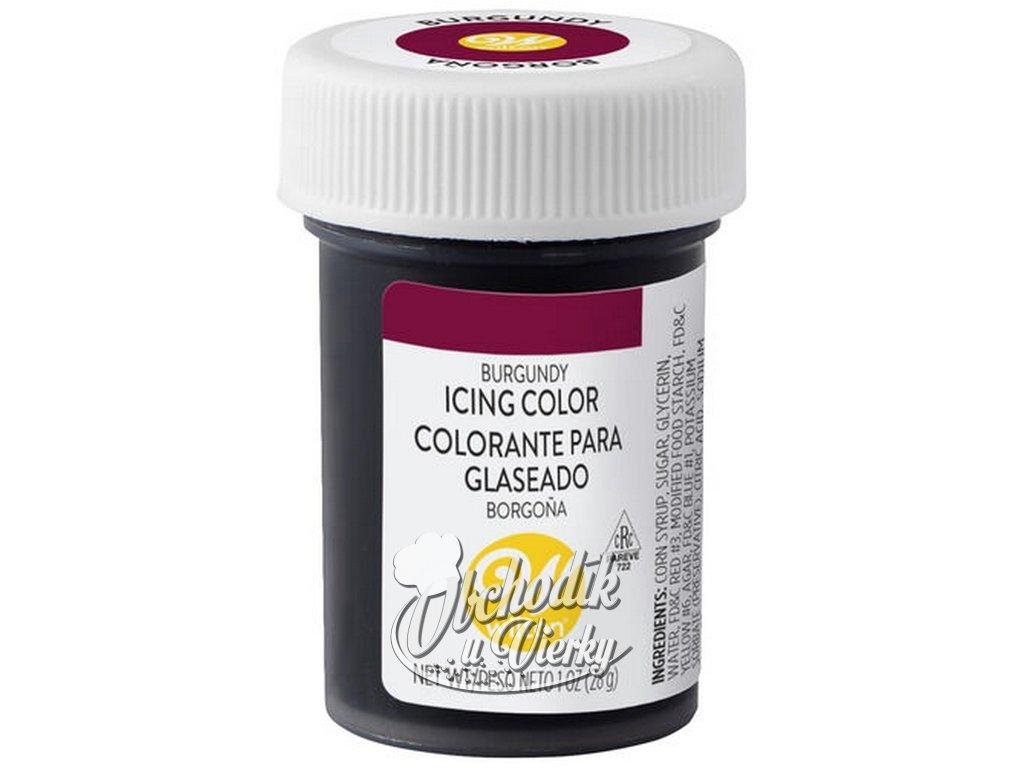 Jedlá farba gélová WILTON burgundy