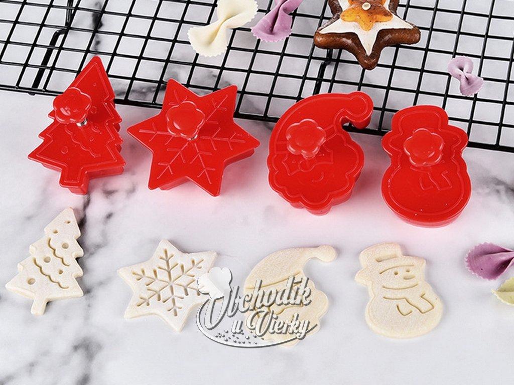 Vykrajovačky s piestom 4 ks vianočný motív 1