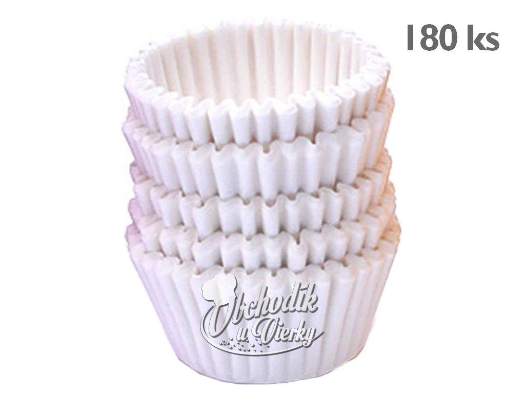 Mini papierové košíčky BIELE 180 ks