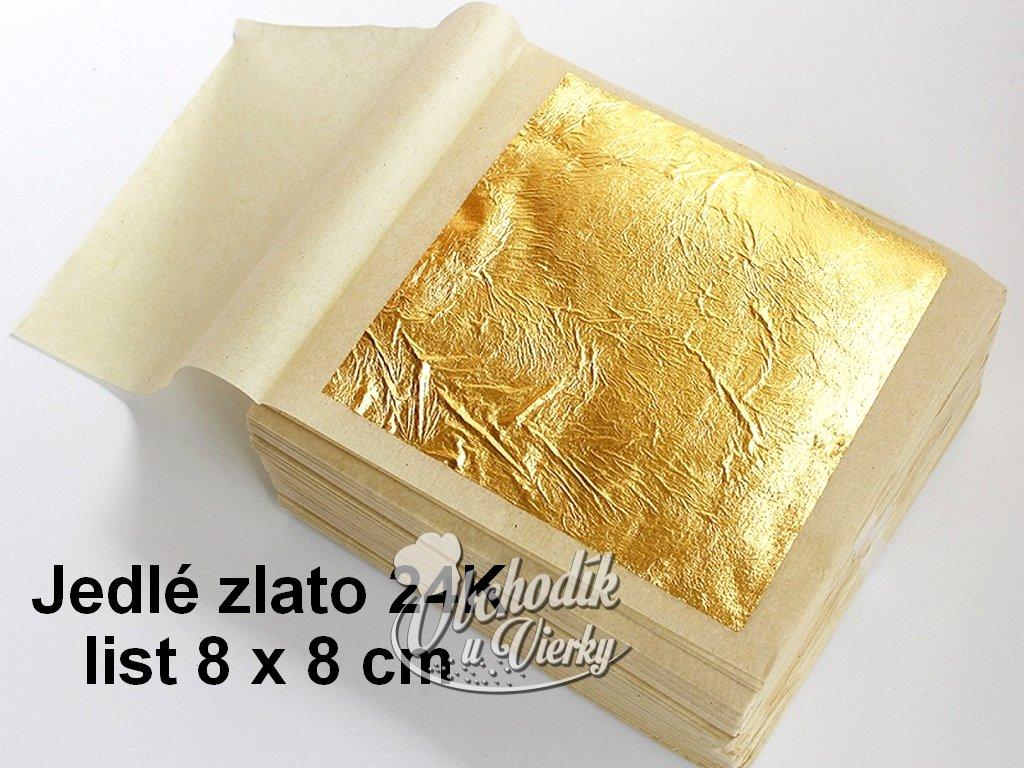 Jedlé zlato 24K list 8 x 8 cm