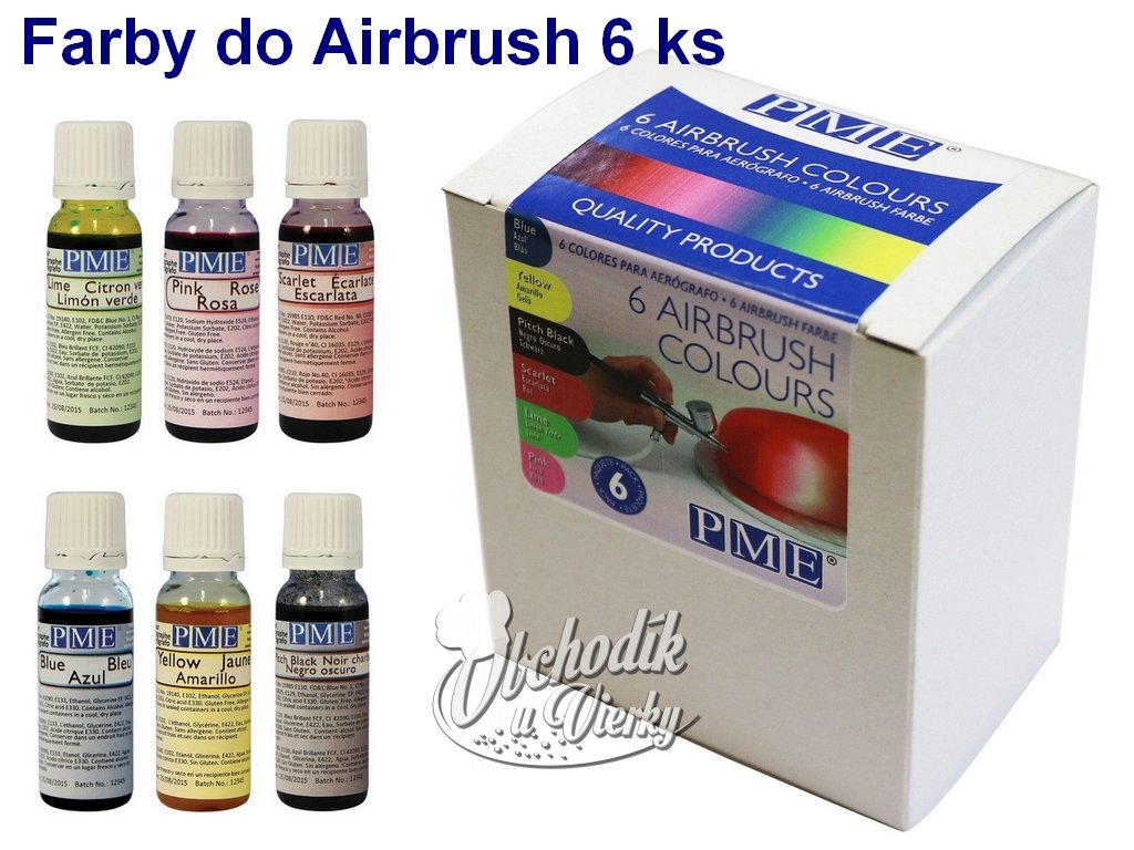 Základné Airbrush farby PME 6 ks 1