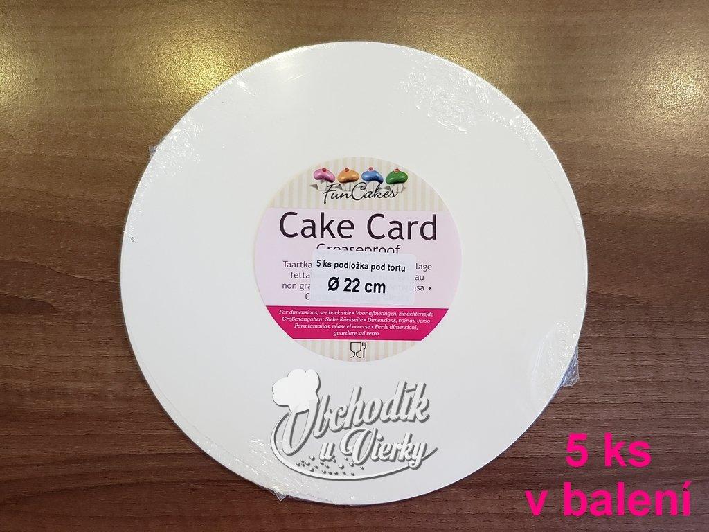 Podložka pod tortu 5 ks biela tenká O 22 cm FunCakes