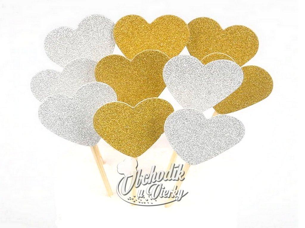 Srdiečka zapichovátka 10 ks zlato strieborný motív
