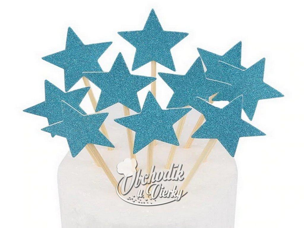 Hviezdičky zapichovátka 10 ks modré