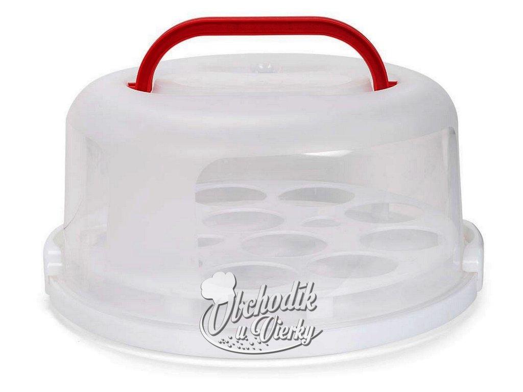 Podnos s poklopom na tortu s vyberateľným držiakom na muffiny cupcake 12 ks O 30 cm 1
