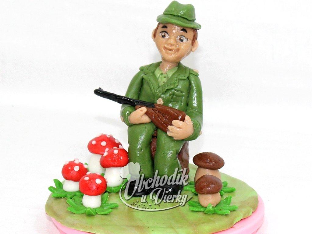 Poľovník na pníku ozdoba na tortu 2