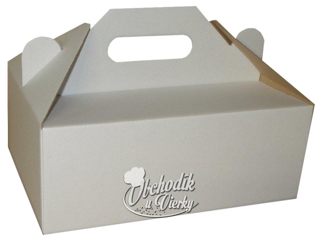 Zákusková krabica biela s úchytkou 19 x 16 x 7 cm