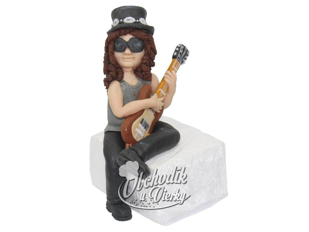 Rocker/rockerka s elektronickou gitarou - jedlá figúrka na tortu