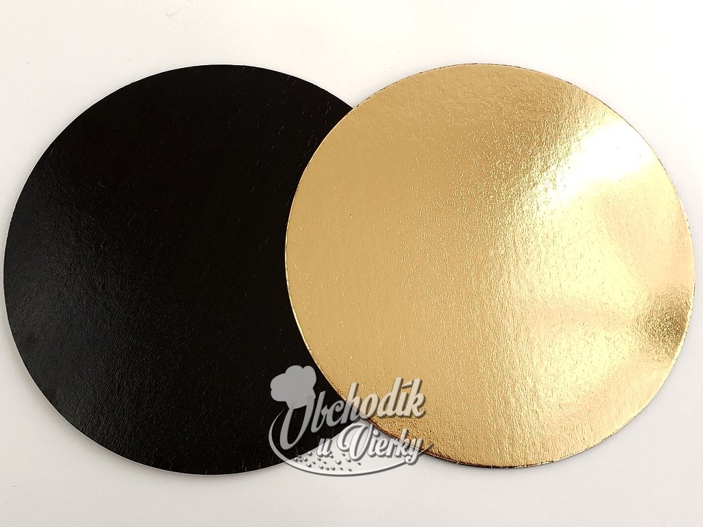 Podložka pod tortu papierová EXTRA hrubá, zlatá čierna O 28 cm
