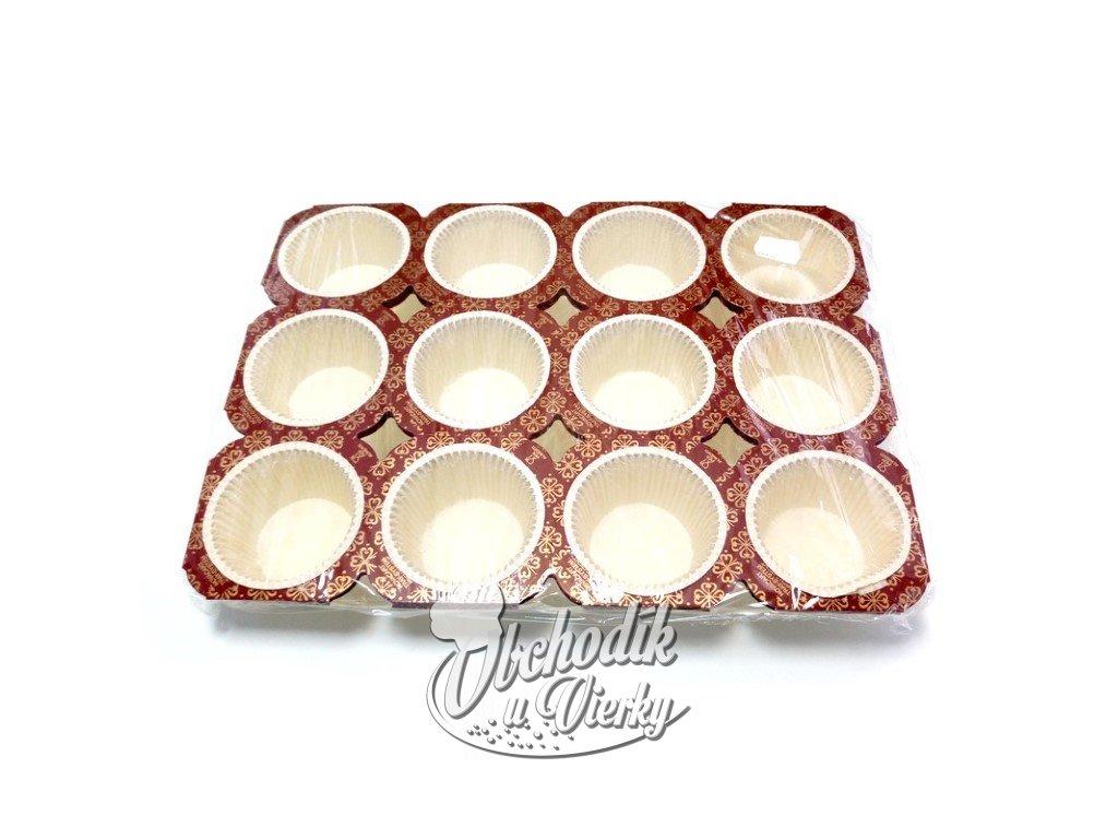 1468 Papierové košíčky na muffiny v rámiku 24ks 1
