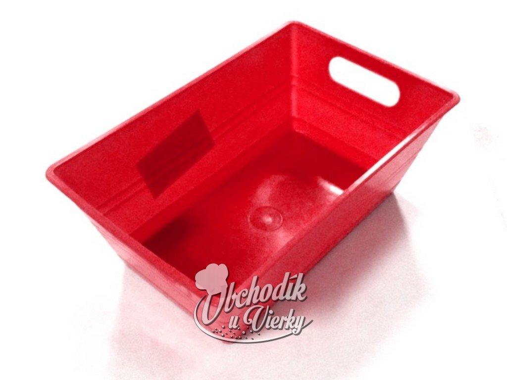 Hranatá plastová nádobka červená 14x9x5,5 cm