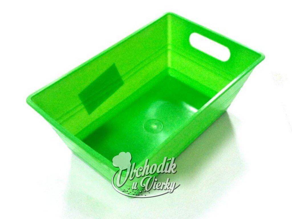 Hranatá plastová nádobka zelená 14x9x5,5 cm