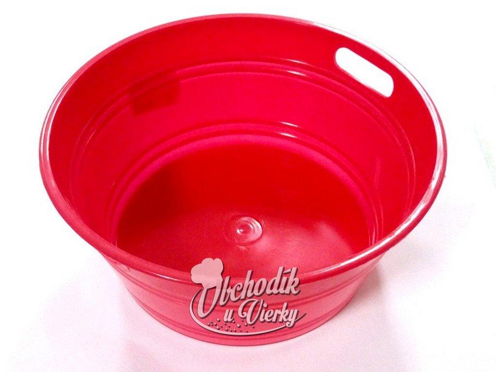Okrúhla plastová nádobka červená Ø 14x6 cm
