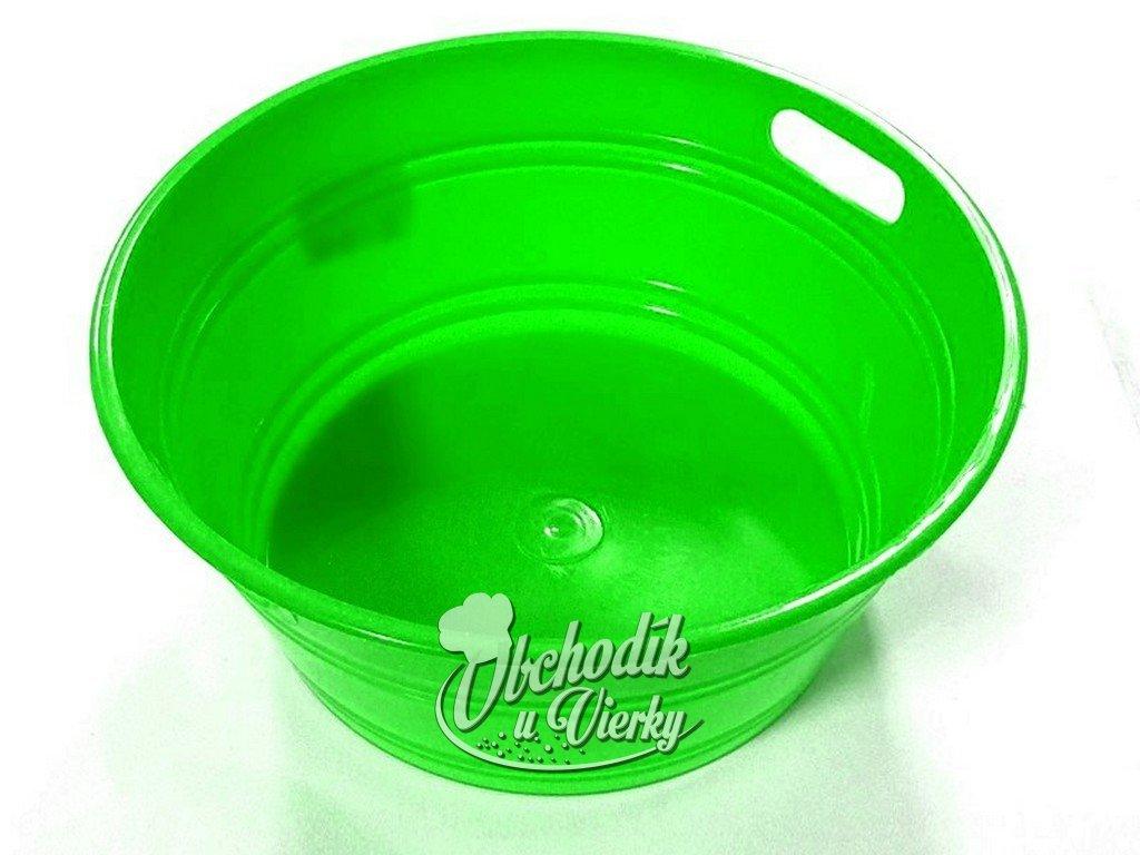 Okrúhla plastová nádobka zelená Ø 14x6 cm