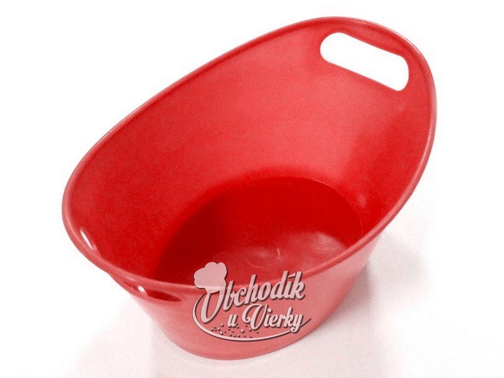 Oválna plastová nádobka červená 15,5x10x6 cm