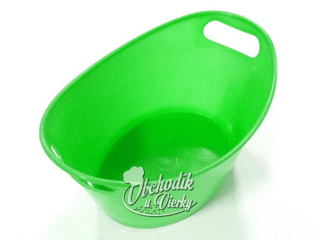 Oválna plastová nádobka zelená 15,5x10x6 cm