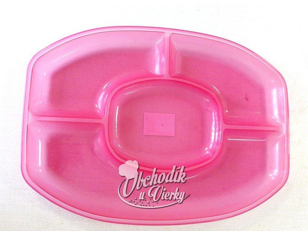 Servírovací tanier ružový 47x33 cm