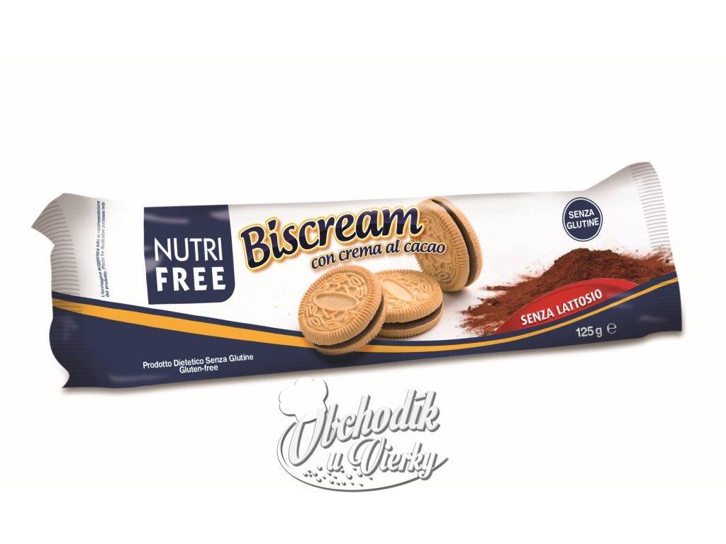 Bezlepkové sušienky plnené čokoládovým krémom Biscream NUTRI FREE 125g