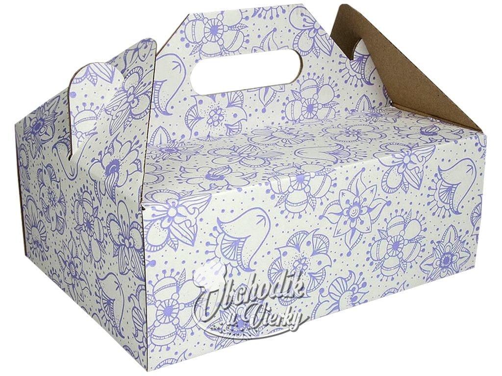Zákusková krabica bielofialová s úchytkou 26 x 19,5 x 10 cm