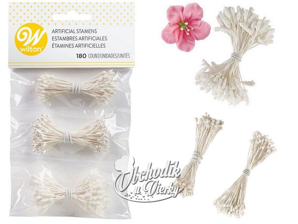 Dekoračné piestiky do kvietkov biele 3 vzory 180ks