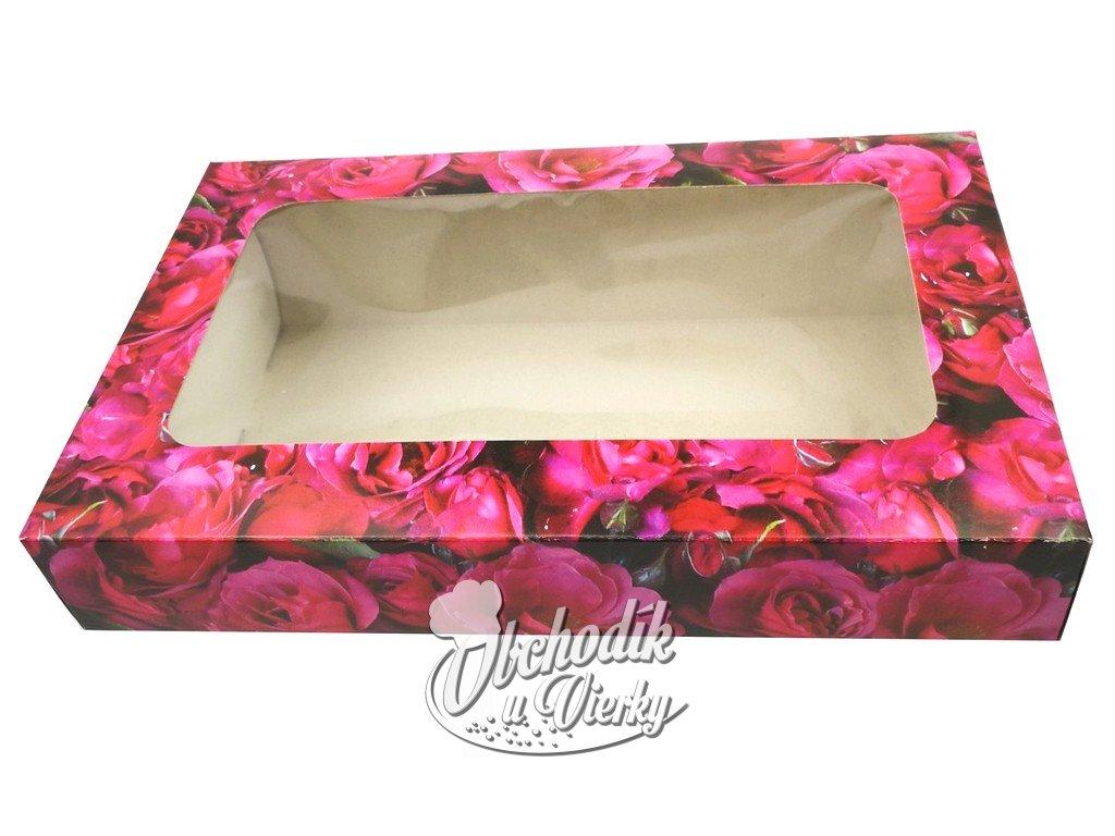 Ozdobná papierová krabička s okienkom červené ruže 25,5 x15,5 x 4 cm
