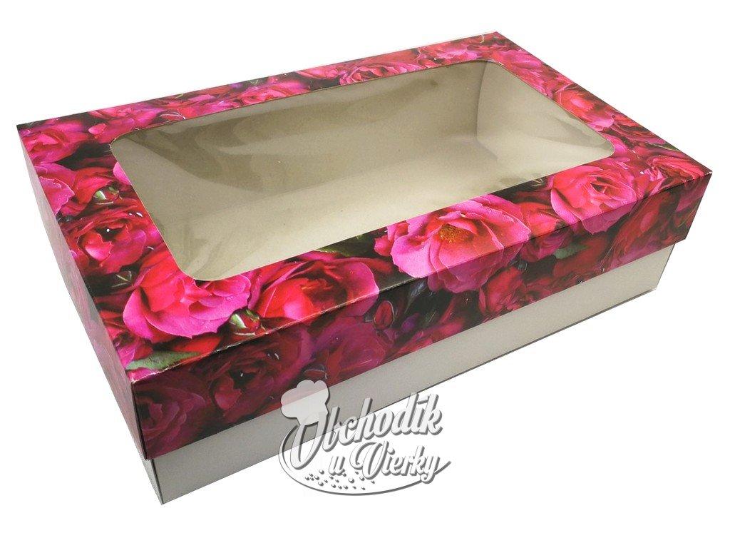 Ozdobná papierová krabička s okienkom červené ruže 25,5 x 15,5 x 7 cm