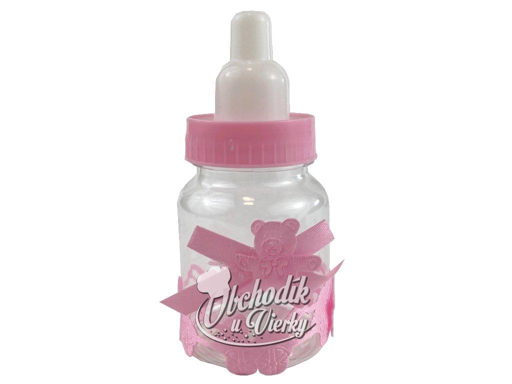Detská fľaša s cumlíkom ružová