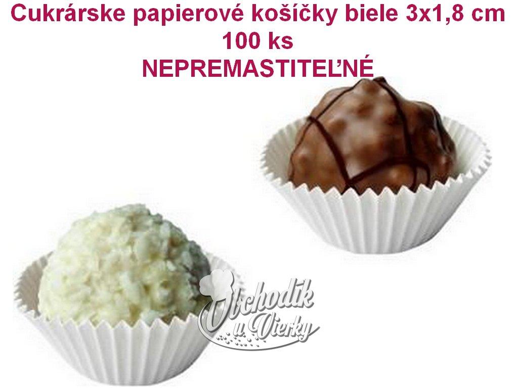 Cukrárske papierové košíčky biele 3x1,8 cm 100 ks, NEPREMASTITEĽNÉ 1