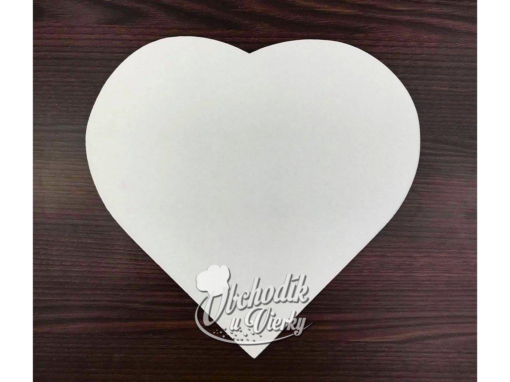 Podložka pod tortu srdce biela kartónová pevná 33x30 cm