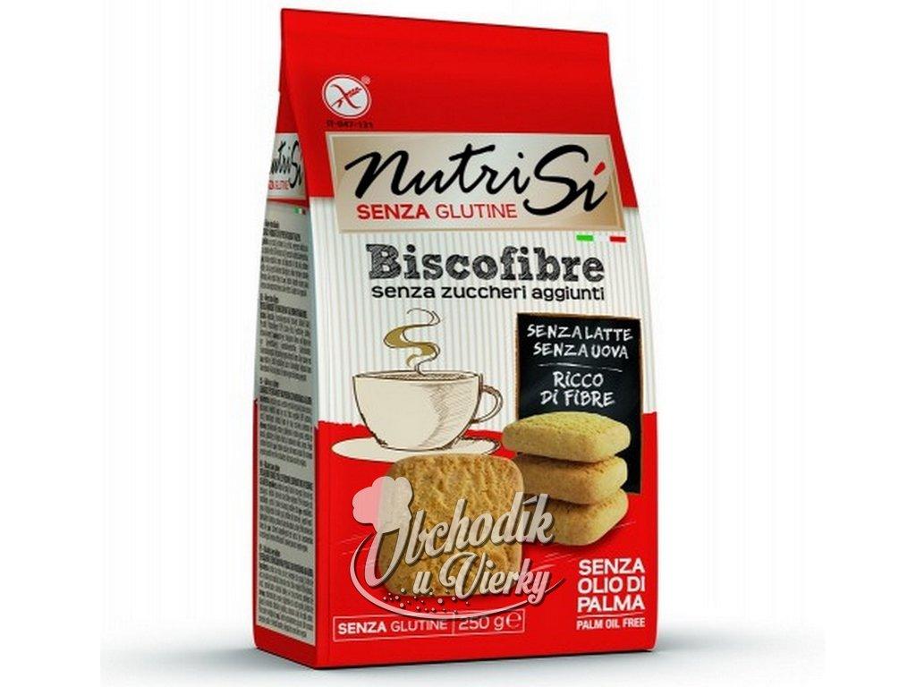 Bezlepkové sušienky bez pridaného cukru BISCOFIBRE Nutri Sí 250 g