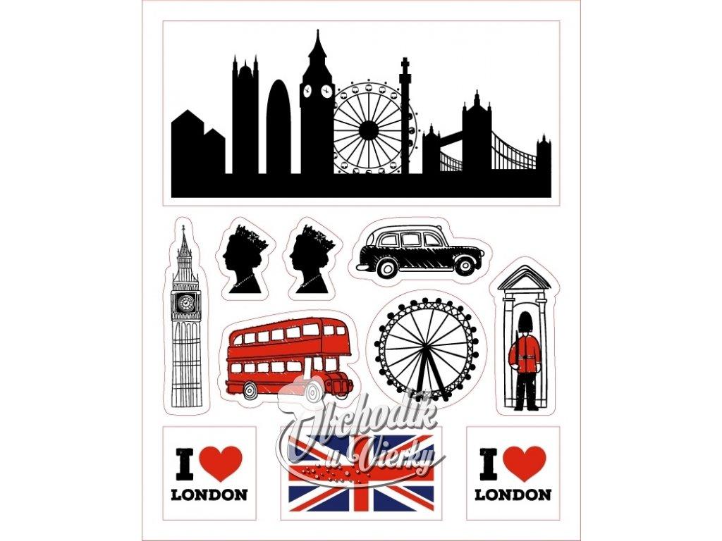 Londýn - dekorácia z jedlej oblátky (11 ks)