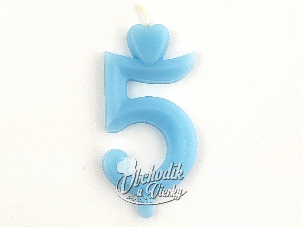 Sviecka císlo 5 modrá so stojancekom
