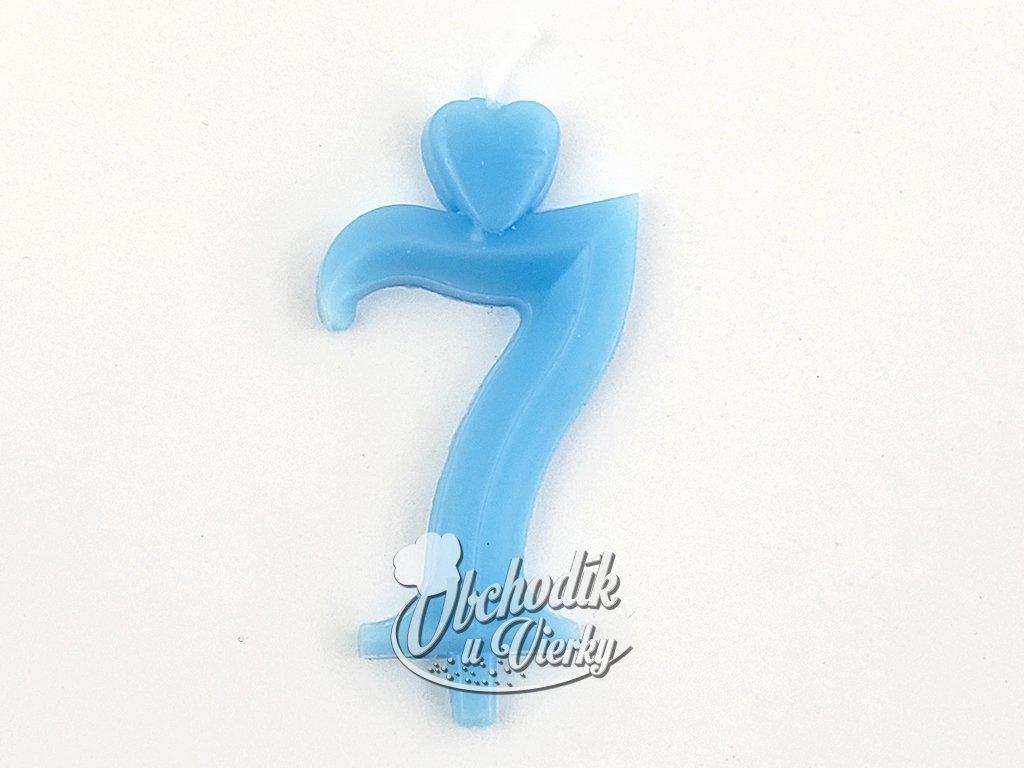 Sviecka císlo 7 modrá so stojancekom