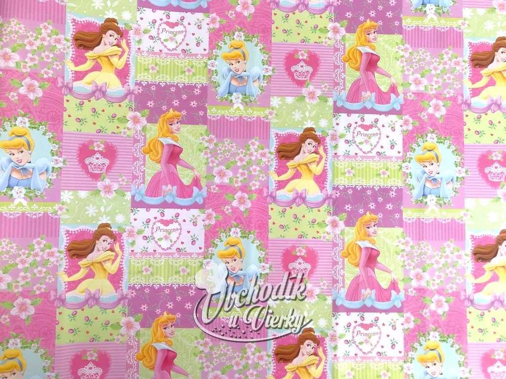 Darčekový baliaci papier Disney ružovo zelený princezné