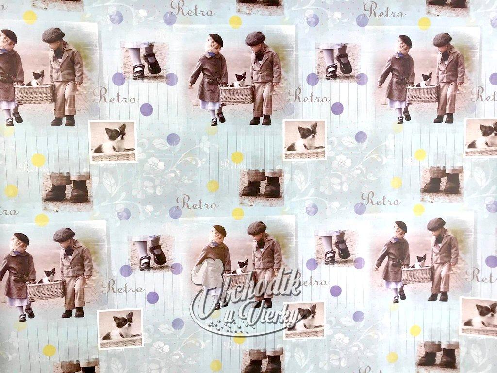 Darčekový baliaci papier Deti so psíkom v košíku