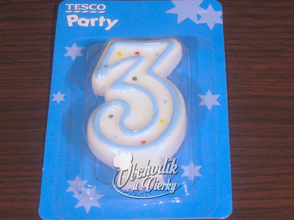 Narodeninová sviečka číslo 3 s modrým lemom