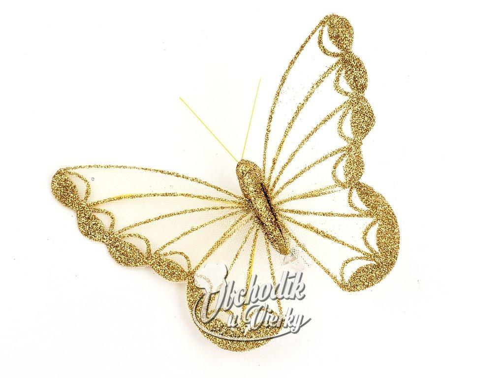 Dekoračný motýľ so sponou balenie 2 ks