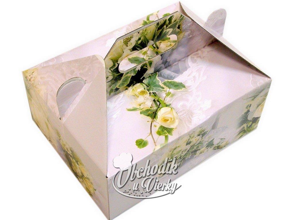 Zákusková krabica kašírovaná s úchytkou (ruže) 26x19,5x10 cm 1
