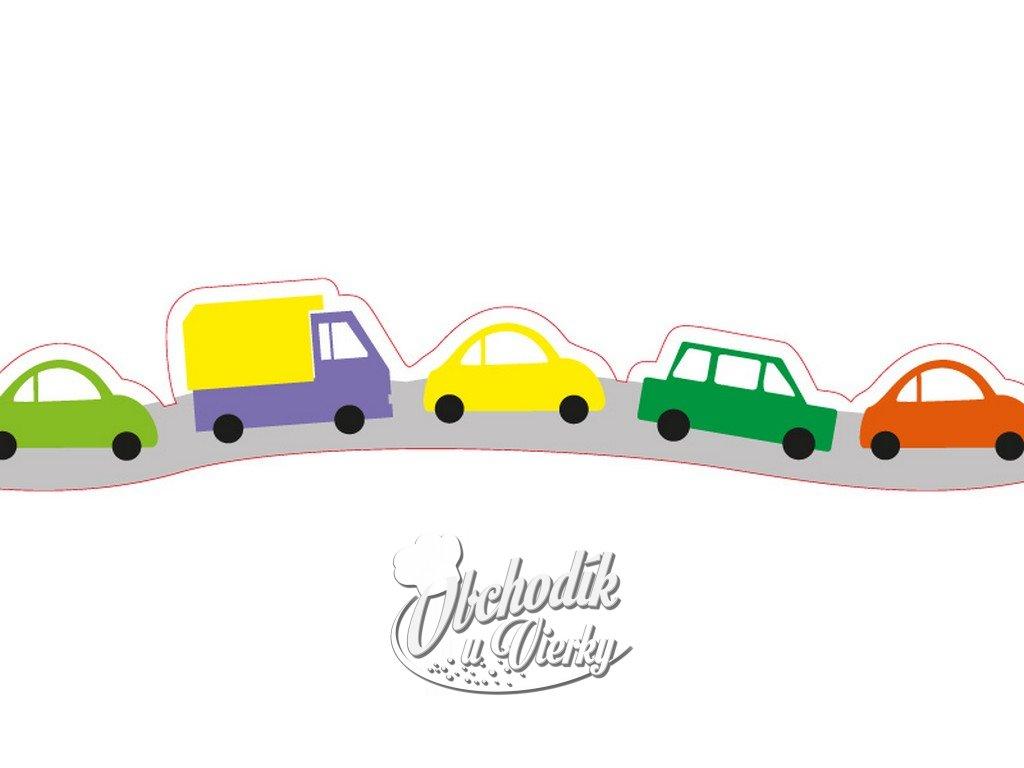 Obvodová dekorácia z jedlého papiera motív detské autíčka 3 ks, 82 cm