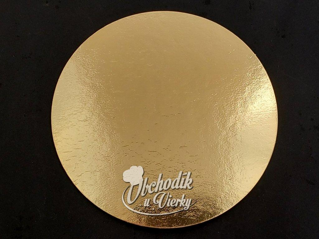 Podložka pod tortu kruhová zlatá tenká O 26 cm