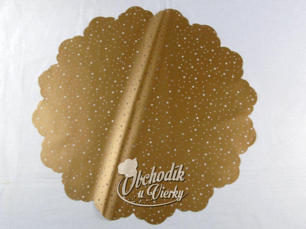 1 0030 Ozdobný papier pod tortu kruh Ø 50 cm zlatý