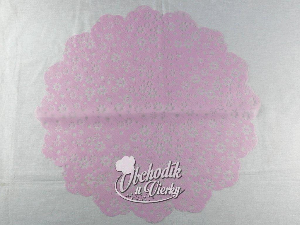 1 0032 Ozdobný papier pod tortu kruh Ø 50 cm ružový