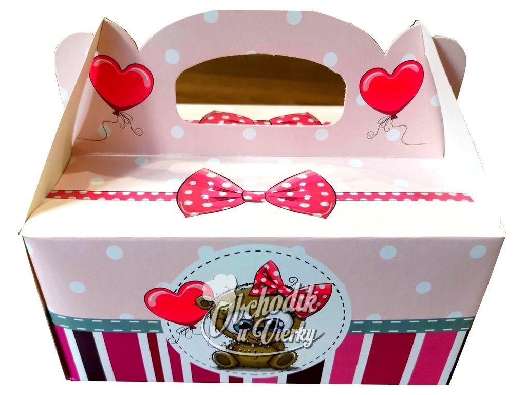 Darčeková krabička detská s mackom 19x14x9cm