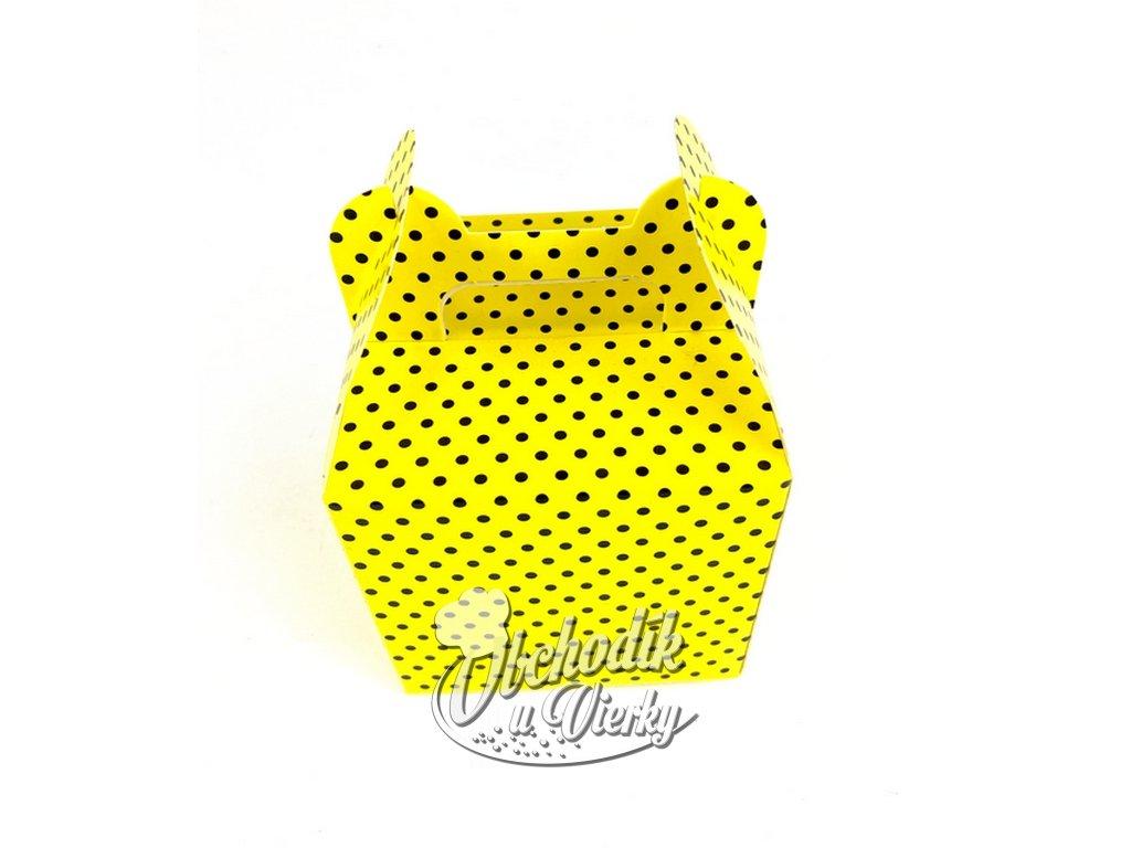 Darčeková krabička žltá s čiernymi bodkami 8,7x8,7x8,5 cm