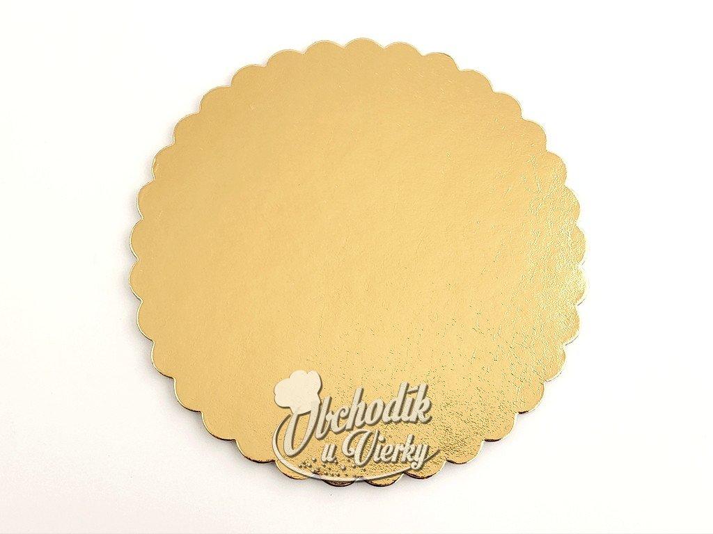 Podložka pod tortu kruhová zlatá pevná s ozdobným okrajom O 26 cm G2000