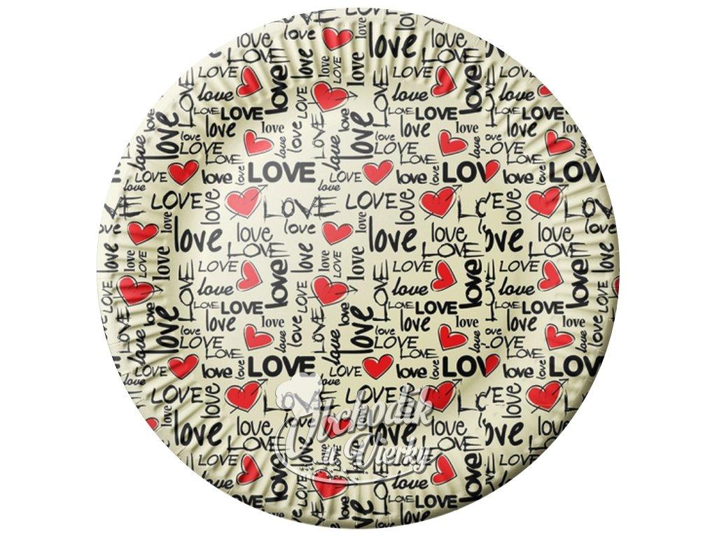 Papierový tanier LOVE 23 cm, 8 ks