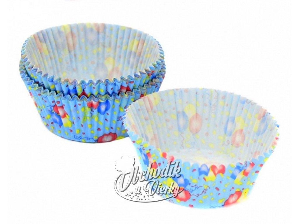 Cukrárske papierové košíčky s balónmi 5 x 3 cm 40 ks