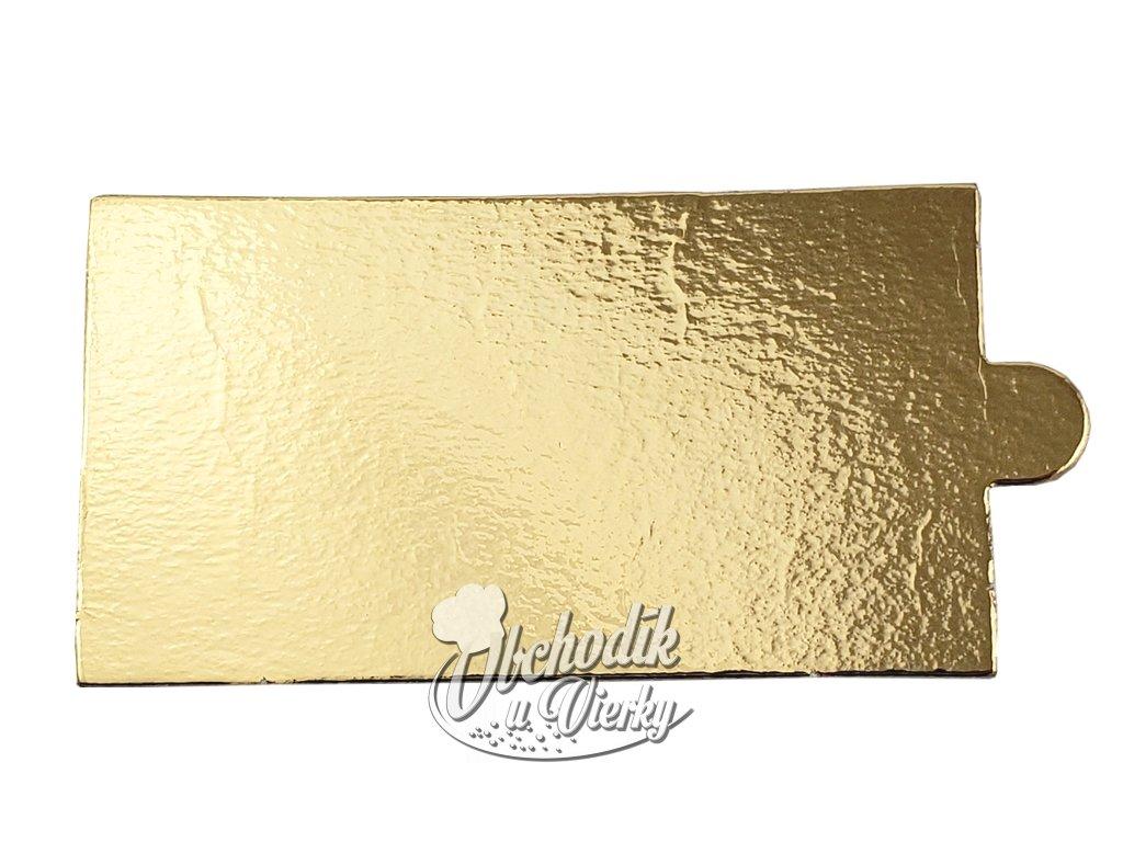 Podložka pod dezerty obdĺžniková papierová zlatá 9x5 cm