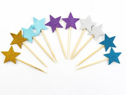 Hviezdičky modrý motív zapichovátka 10 ks 2